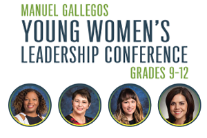 Image of the four speakers for the Manuel Gallegos Young Women's Virtual Leadership Conference.