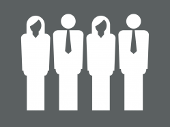 Image of four people standing next to each other, HCDE Human Resources Logo.