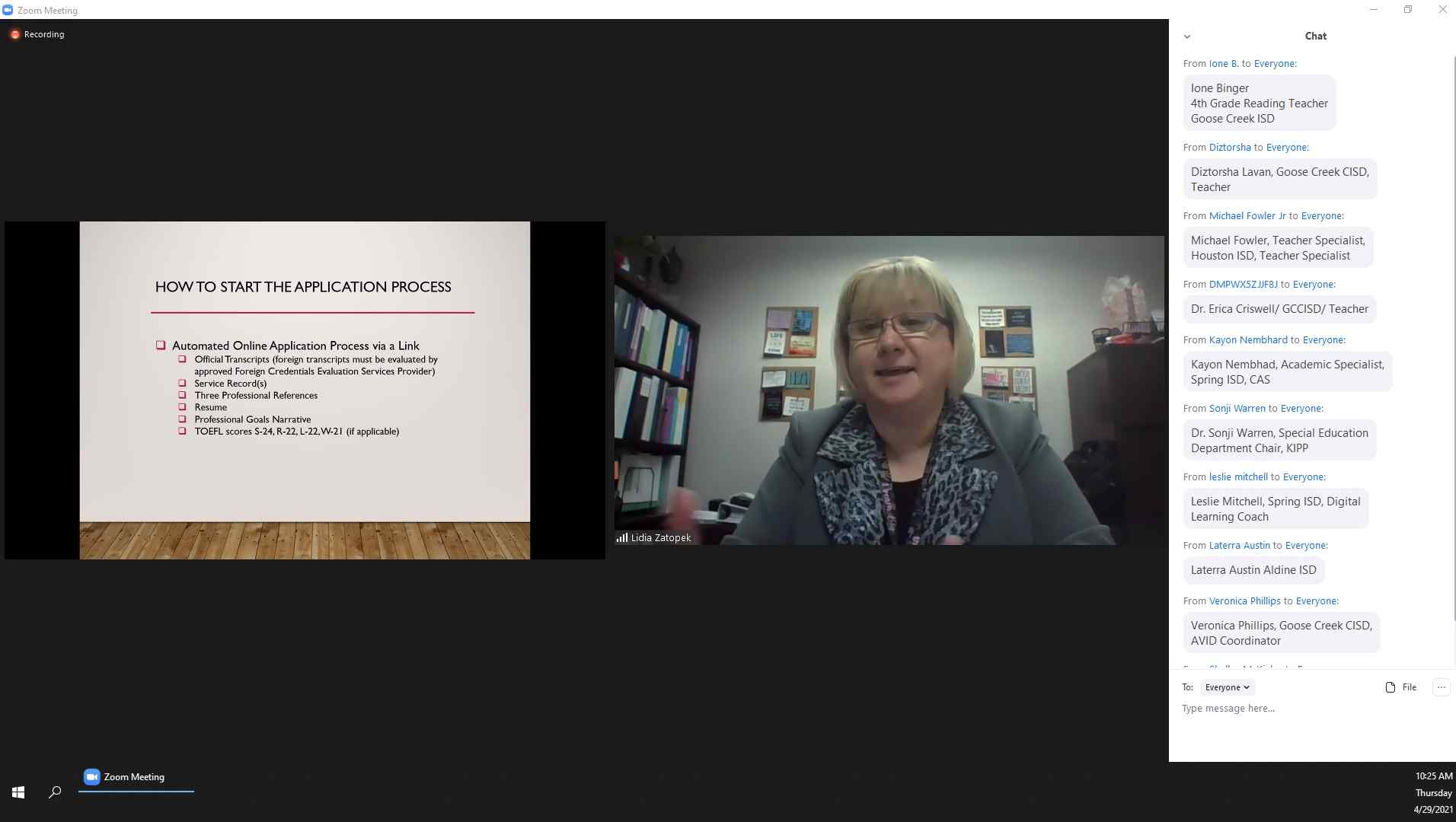 Image of Lidia Zatopek leading an informational virtual conference.